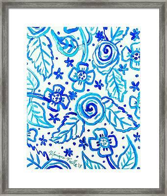 Indigo Blooms Framed Print
