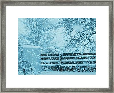 Indigo Blue Snow In The Country Framed Print by Mary Wolf