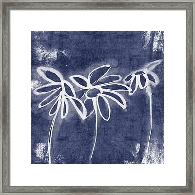 Indigo Floral 1- Art By Linda Woods Framed Print by Linda Woods