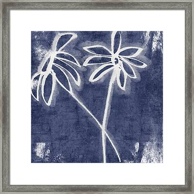 Indigo Floral 2- Art By Linda Woods Framed Print