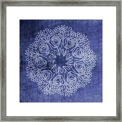 Indigo Mandala 1- Art By Linda Woods Framed Print