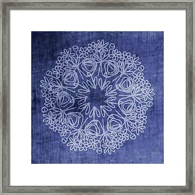 Indigo Mandala 1- Art By Linda Woods Framed Print