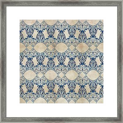 Indigo Ocean - Caribbean Inspired Watercolor Swirl Pattern Framed Print by Audrey Jeanne Roberts
