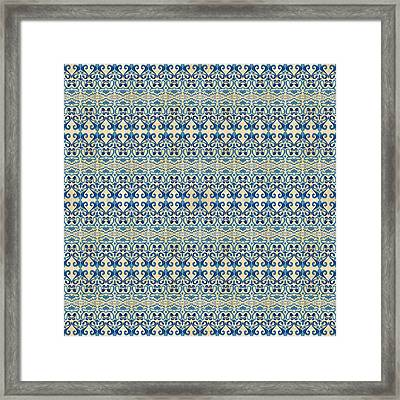 Indigo Ocean - Caribbean Tile Inspired Watercolor Swirl Pattern Framed Print by Audrey Jeanne Roberts