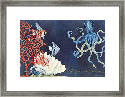 Indigo Ocean - Floating Octopus Framed Print
