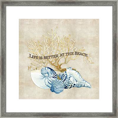 Indigo Ocean - Life Is Better At The Beach Framed Print by Audrey Jeanne Roberts
