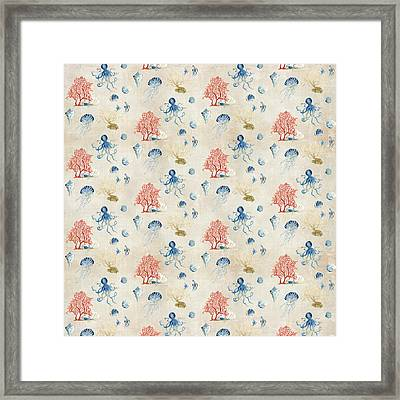 Indigo Ocean - Red Coral Octopus Half Drop Pattern Small Framed Print by Audrey Jeanne Roberts