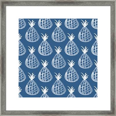 Indigo Pineapple Party Framed Print by Linda Woods