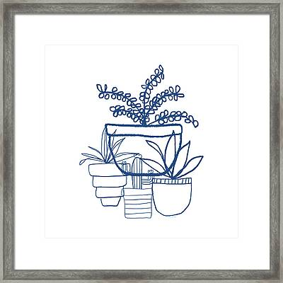 Indigo Potted Succulents- Art By Linda Woods Framed Print by Linda Woods