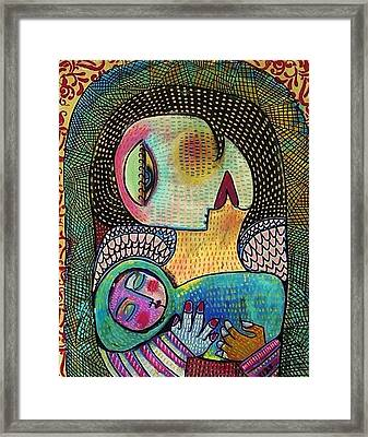 Indigo Tapestry Angel Mother And Child Framed Print