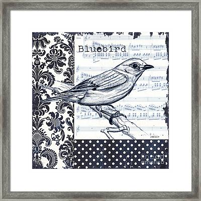 Indigo Vintage Songbird 1 Framed Print by Debbie DeWitt