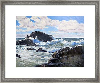 Framed Print featuring the painting Indomitable Rock by Lawrence Dyer
