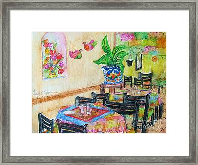 Indoor Cafe - Gifted Framed Print by Judith Espinoza
