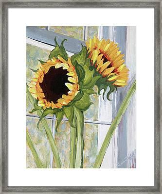 Indoor Sunflowers II Framed Print by Trina Teele