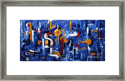 Framed Print featuring the painting Industrial Abstract by Arturas Slapsys