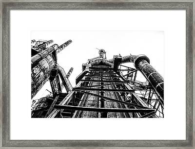 Industrial Age - Bethlehem Steel In Black And White Framed Print by Bill Cannon