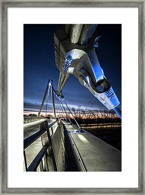 Industrial Beauty On Ped Bridge In Chicago At Dawn  Framed Print by Sven Brogren