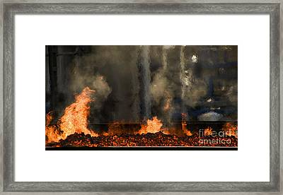 Industrial Fire Framed Print by Sick Michael
