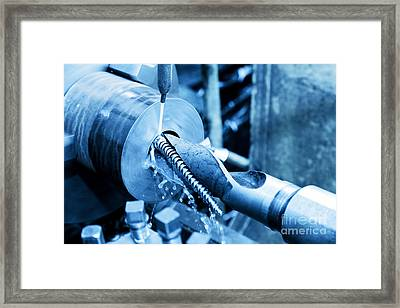 Industrial Turning And Threading Machine At Work Framed Print by Michal Bednarek