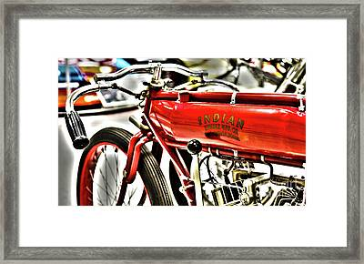 Indy Race Car Museum Indian Motorcycle Framed Print by ELITE IMAGE photography By Chad McDermott