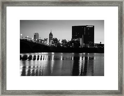 Indy Skyline Black And White Reflections - Indianapolis Indiana Framed Print