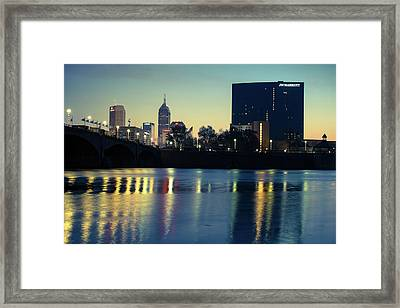 Indy Skyline Reflections - Indianapolis Indiana Framed Print