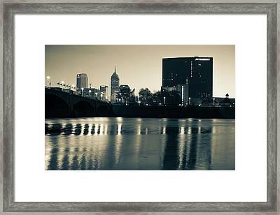 Indy Skyline Sepia Reflections - Indianapolis Indiana Framed Print