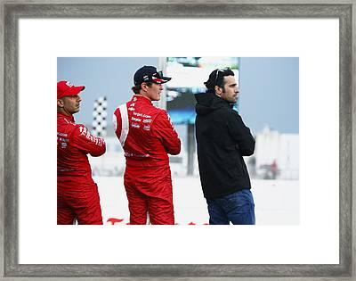 Indycar Divers Tony Kanaan Scott Dixon And Dario Franchett Framed Print by Jeff  Young