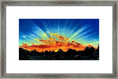 Infinite Rays From An Otherworldly Sunset Framed Print