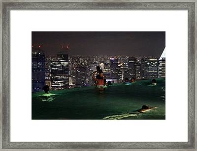 Infinity Pool At Marina Bay Sands Hotel Framed Print