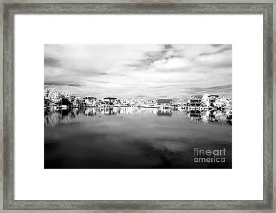 Infrared Beach Houses On The Water Framed Print by John Rizzuto