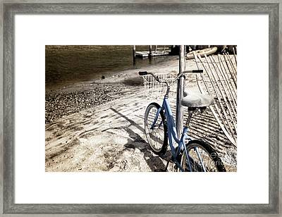 Infrared Bike On The Beach Framed Print by John Rizzuto