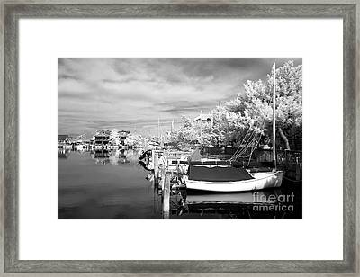 Infrared Boats At Lbi Bw Framed Print by John Rizzuto