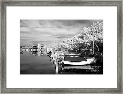 Infrared Boats At Lbi Bw Framed Print