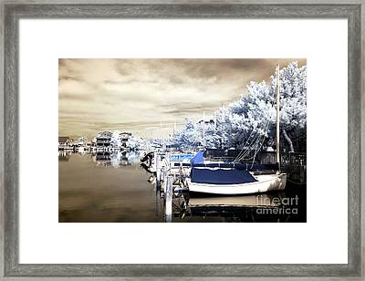 Infrared Boats At Lbi Framed Print by John Rizzuto
