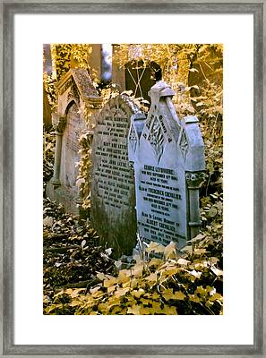 Infrared George Leybourne And Albert Chevalier's Gravestone Framed Print by Helga Novelli