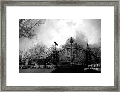 Infrared Gothic Raven On Gate Black And White Infrared Print - Solitude - Gothic Raven Infrared Art  Framed Print by Kathy Fornal