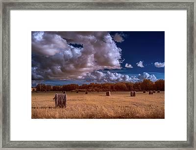 Infrared Haybales Framed Print by Paul Freidlund