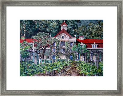 Framed Print featuring the painting Inglenook Winery Napa Valley  by Gail Chandler