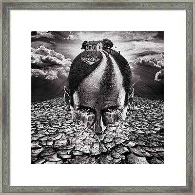 Inhabited Head Gray Scale Framed Print