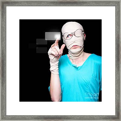 Injured Person Pressing Digital Hospital Button Framed Print by Jorgo Photography - Wall Art Gallery