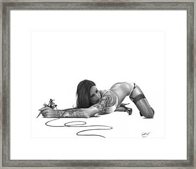 Ink Angel Framed Print by Pete Tapang