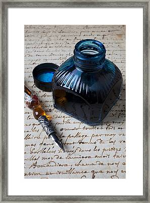 Ink Bottle On Document  Framed Print by Garry Gay