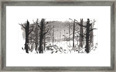 Framed Print featuring the painting Ink Landscape 1 by Sean Seal