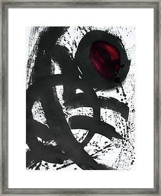 Ink On Paper Rose #2 Vertical Ink Landscape Original Fine Art Ink On Paper Framed Print
