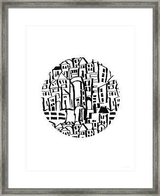 Inky Village Sketch Ball- Art By Linda Woods Framed Print