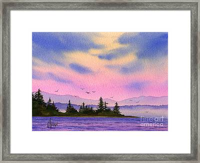 Framed Print featuring the painting Inland Sea Sunset by James Williamson