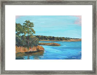 Inlet In Phthalo Framed Print by Christopher Reid