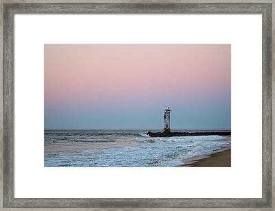 Framed Print featuring the photograph Inlet Jetty At Dawn by Robert Banach