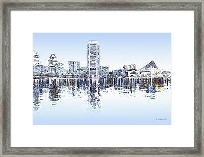 Inner Harbor - Blue Framed Print by Brian Wallace